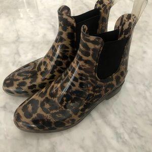 J. Crew Leopard Chelsea Rain Boot Size 7